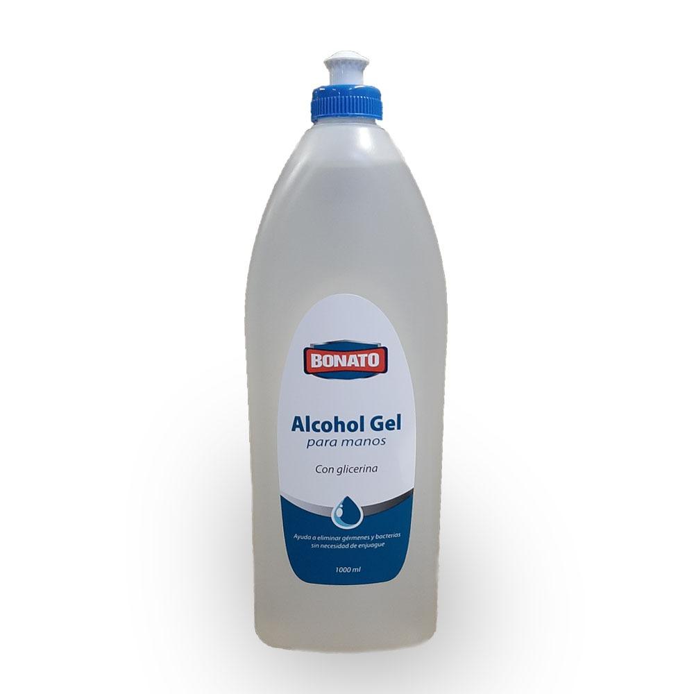 Alcohol gel para manos Bonato 1 LT con glicerina CERTIFICADO