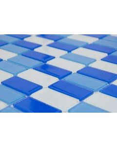 Malla vidrio rectangular negro blanco 30 x 30 (mosa22) (e18)
