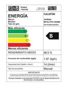 **calefont chispero 14 lts junkers gas licuado b/presion (e1) 7702431680