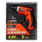 Atornillador Inalambrico APower 4 V  Bateria 1.3 AH + 24 Accesorios + Cargador con Display Mod: R6002